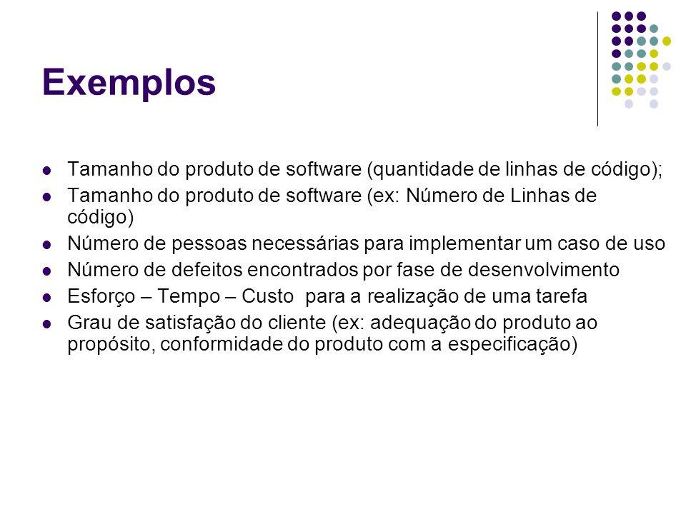 Exemplos Tamanho do produto de software (quantidade de linhas de código); Tamanho do produto de software (ex: Número de Linhas de código)