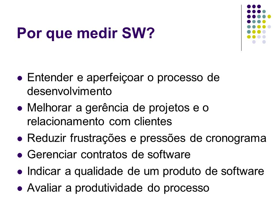Por que medir SW Entender e aperfeiçoar o processo de desenvolvimento