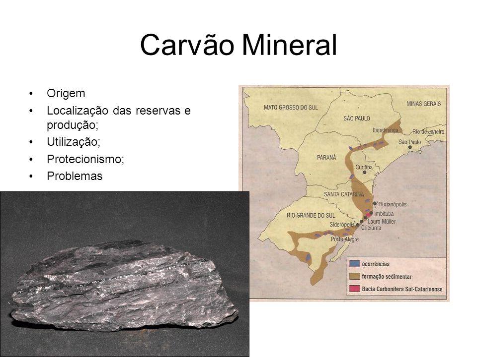 Carvão Mineral Origem Localização das reservas e produção; Utilização;