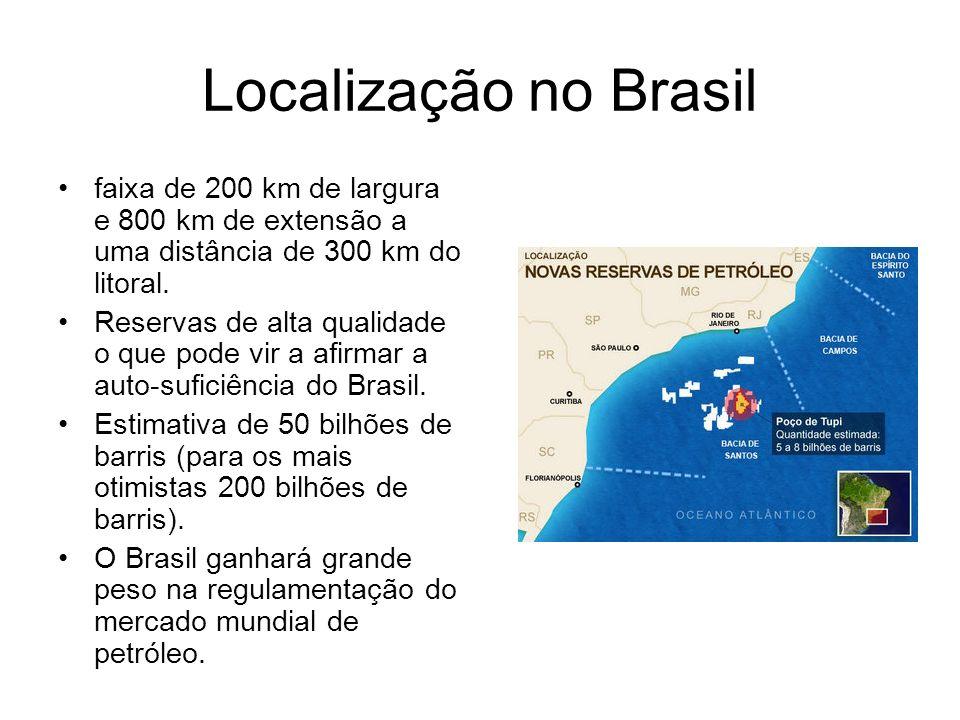 Localização no Brasil faixa de 200 km de largura e 800 km de extensão a uma distância de 300 km do litoral.