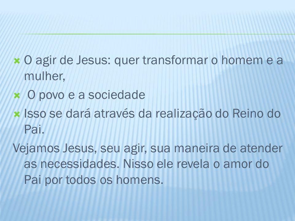 O agir de Jesus: quer transformar o homem e a mulher,