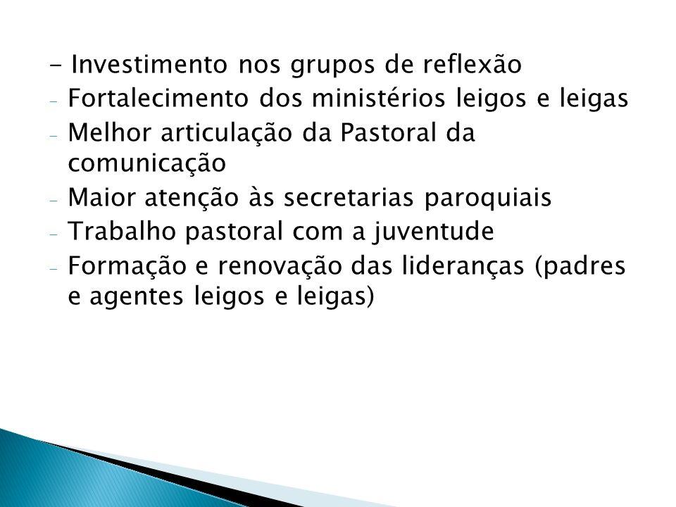 - Investimento nos grupos de reflexão
