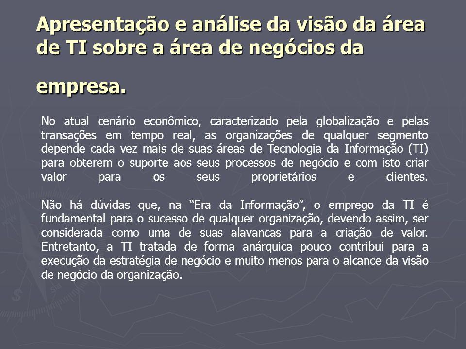 Apresentação e análise da visão da área de TI sobre a área de negócios da empresa.
