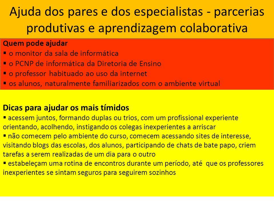 Ajuda dos pares e dos especialistas - parcerias produtivas e aprendizagem colaborativa