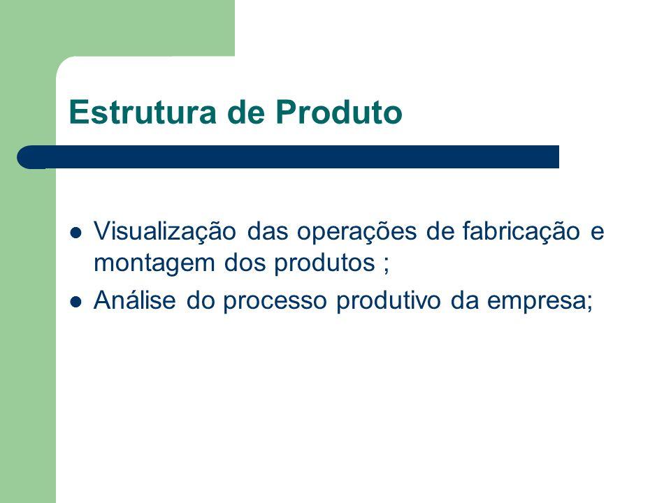 Estrutura de ProdutoVisualização das operações de fabricação e montagem dos produtos ; Análise do processo produtivo da empresa;