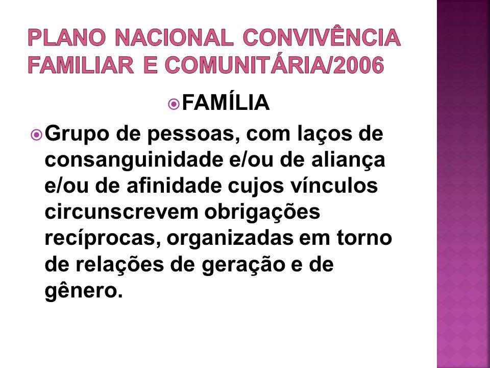 PLANO NACIONAL CONVIVÊNCIA FAMILIAR E COMUNITÁRIA/2006