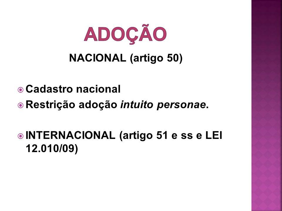 ADOÇÃO NACIONAL (artigo 50) Cadastro nacional