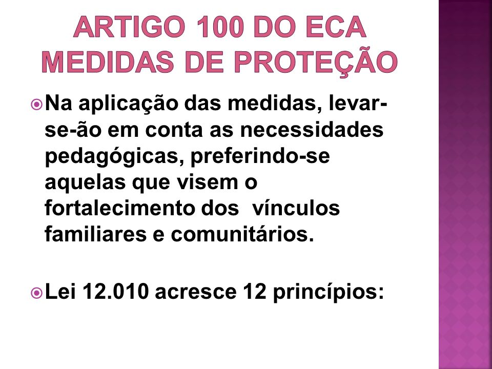 ARTIGO 100 DO ECA medidas de proteção
