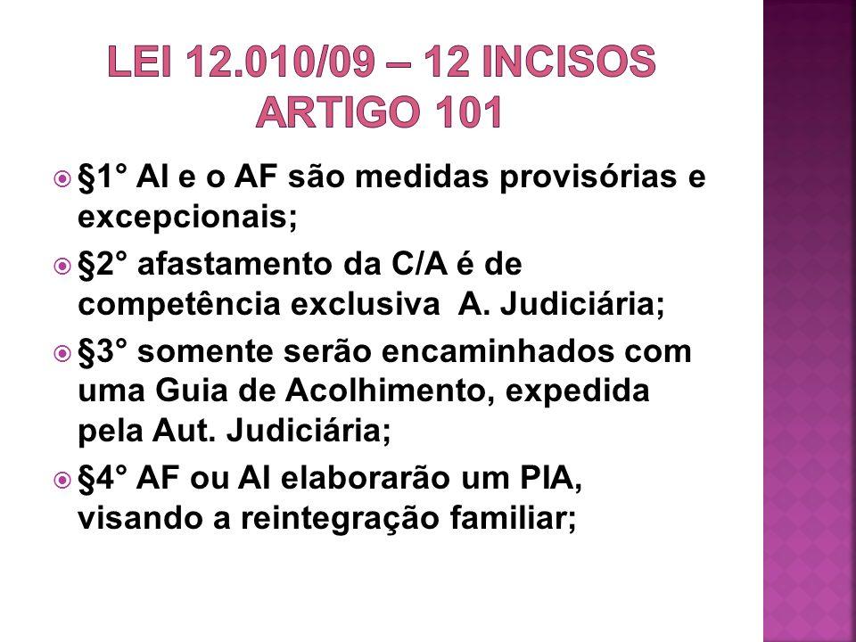 LEI 12.010/09 – 12 INCISOS ARTIGO 101 §1° AI e o AF são medidas provisórias e excepcionais;