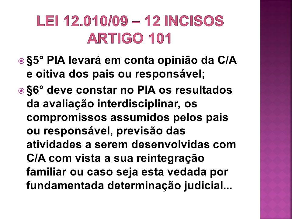 LEI 12.010/09 – 12 INCISOS ARTIGO 101 §5° PIA levará em conta opinião da C/A e oitiva dos pais ou responsável;