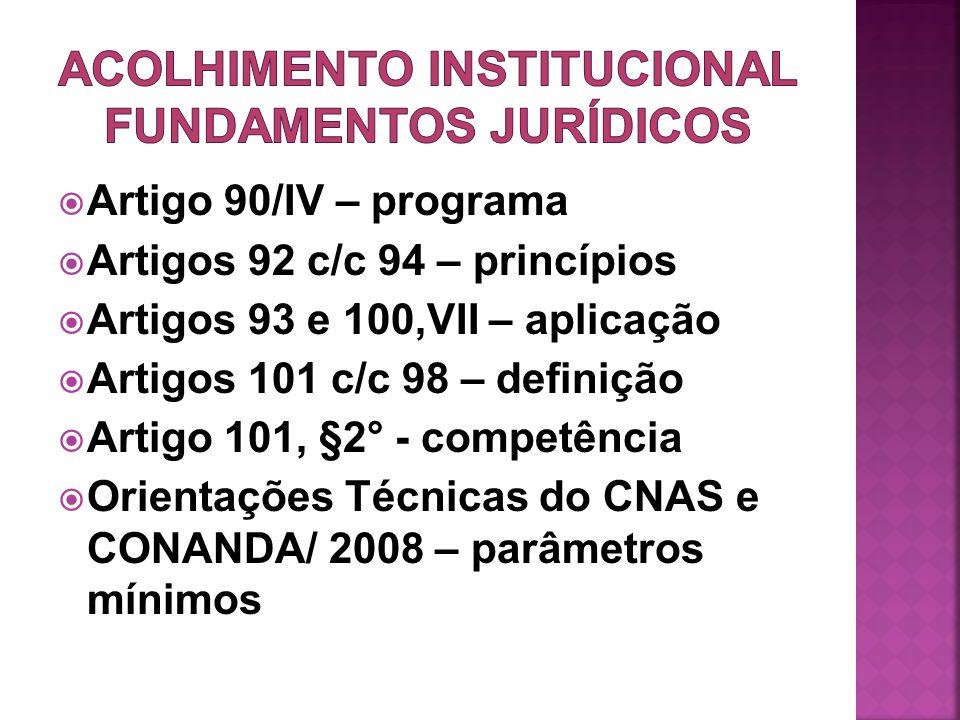 ACOLHIMENTO INSTITUCIONAL FUNDAMENTOS JURÍDICOS