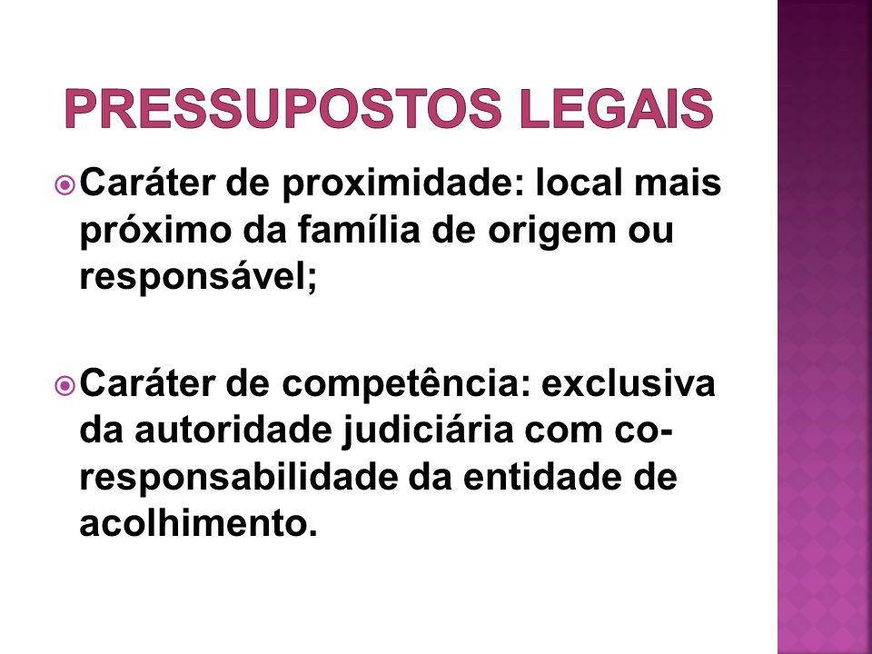 PRESSUPOSTOS LEGAIS Caráter de proximidade: local mais próximo da família de origem ou responsável;