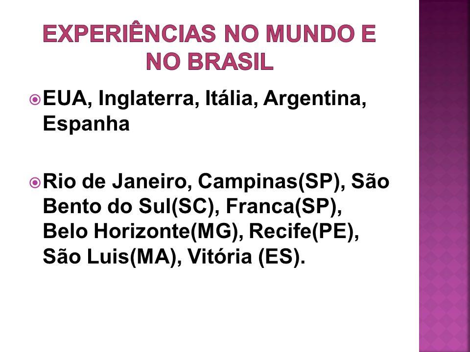 EXPERIÊNCIAS NO MUNDO E NO BRASIL