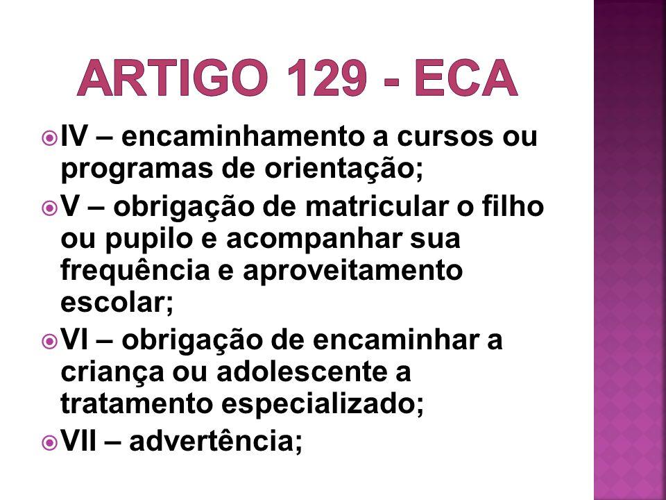 Artigo 129 - ECA IV – encaminhamento a cursos ou programas de orientação;