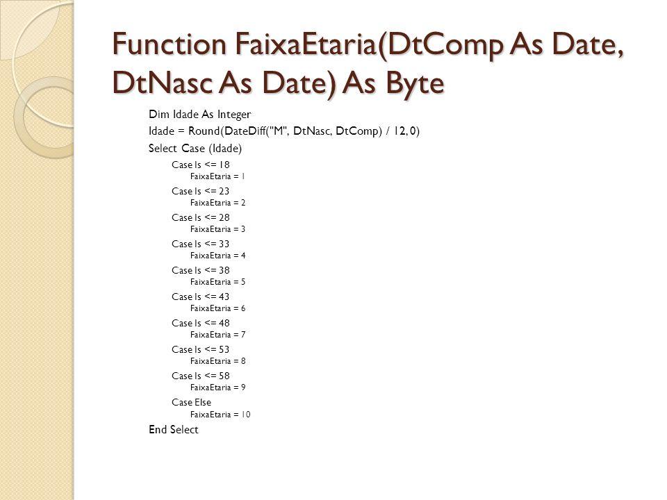 Function FaixaEtaria(DtComp As Date, DtNasc As Date) As Byte
