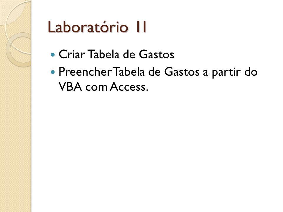 Laboratório 1I Criar Tabela de Gastos