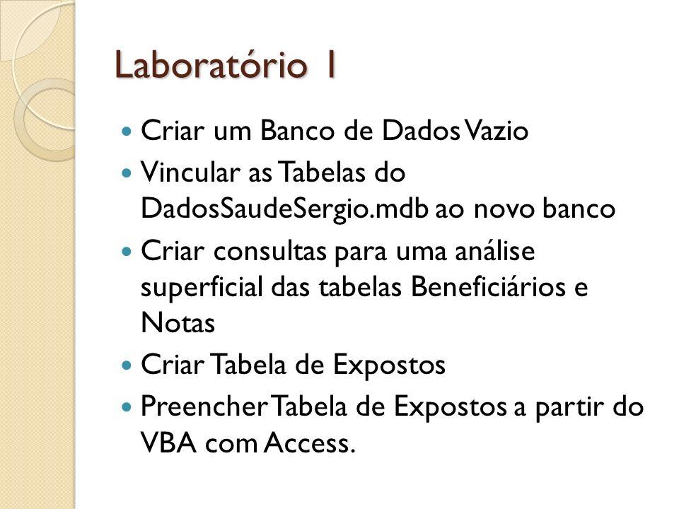 Laboratório 1 Criar um Banco de Dados Vazio