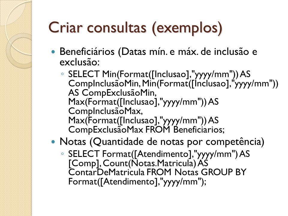 Criar consultas (exemplos)
