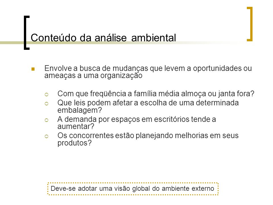Conteúdo da análise ambiental