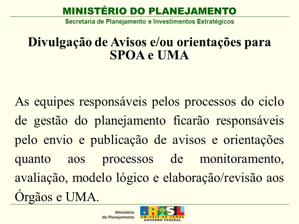 Divulgação de Avisos e/ou orientações para SPOA e UMA
