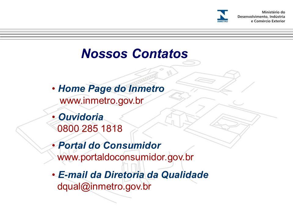 Nossos Contatos Home Page do Inmetro www.inmetro.gov.br Ouvidoria