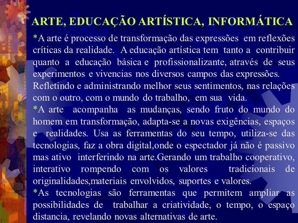 ARTE, EDUCAÇÃO ARTÍSTICA, INFORMÁTICA