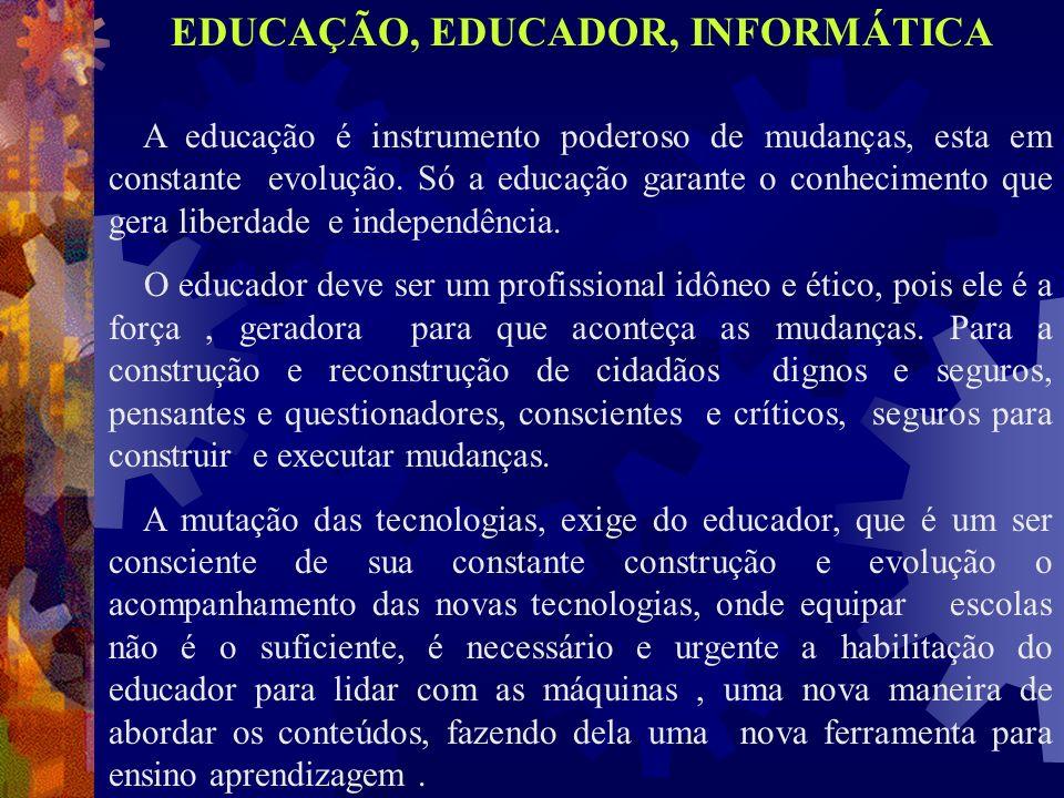 EDUCAÇÃO, EDUCADOR, INFORMÁTICA