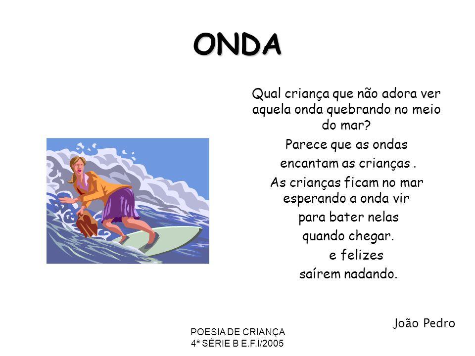ONDA Qual criança que não adora ver aquela onda quebrando no meio do mar Parece que as ondas. encantam as crianças .