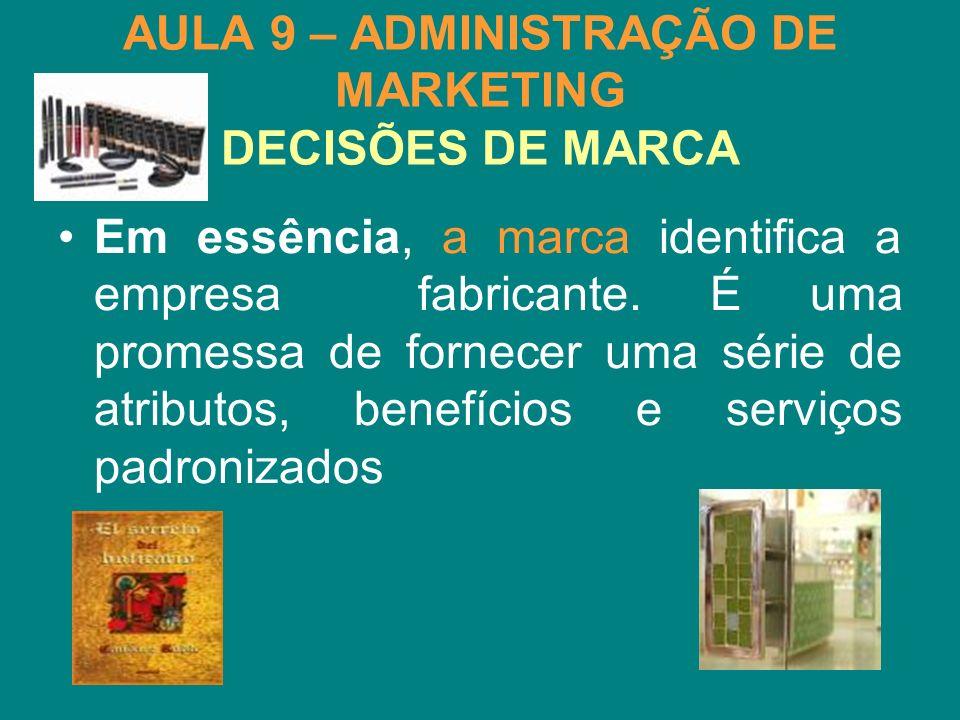 AULA 9 – ADMINISTRAÇÃO DE MARKETING DECISÕES DE MARCA