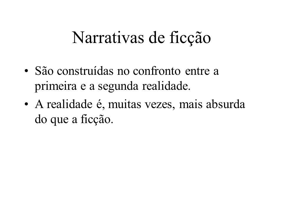 Narrativas de ficção São construídas no confronto entre a primeira e a segunda realidade.