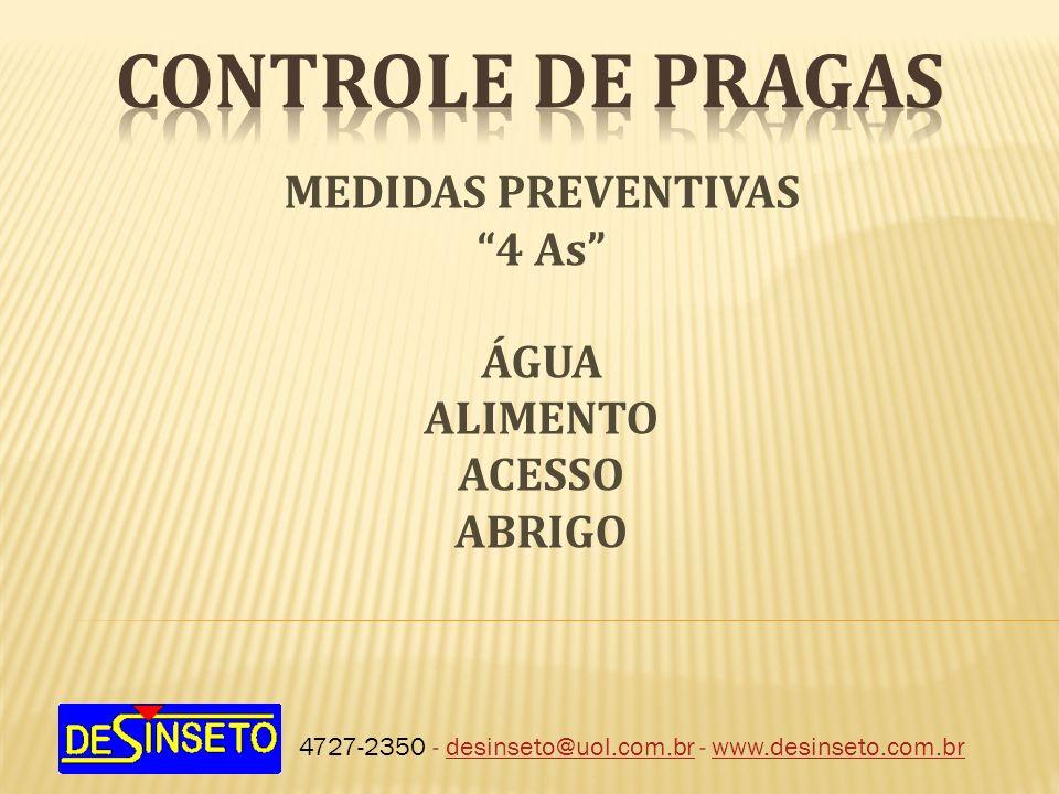 CONTROLE DE PRAGAS MEDIDAS PREVENTIVAS 4 As ÁGUA ALIMENTO ACESSO