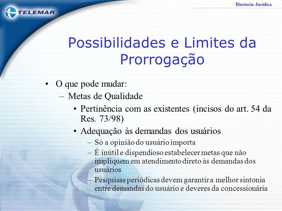 Possibilidades e Limites da Prorrogação