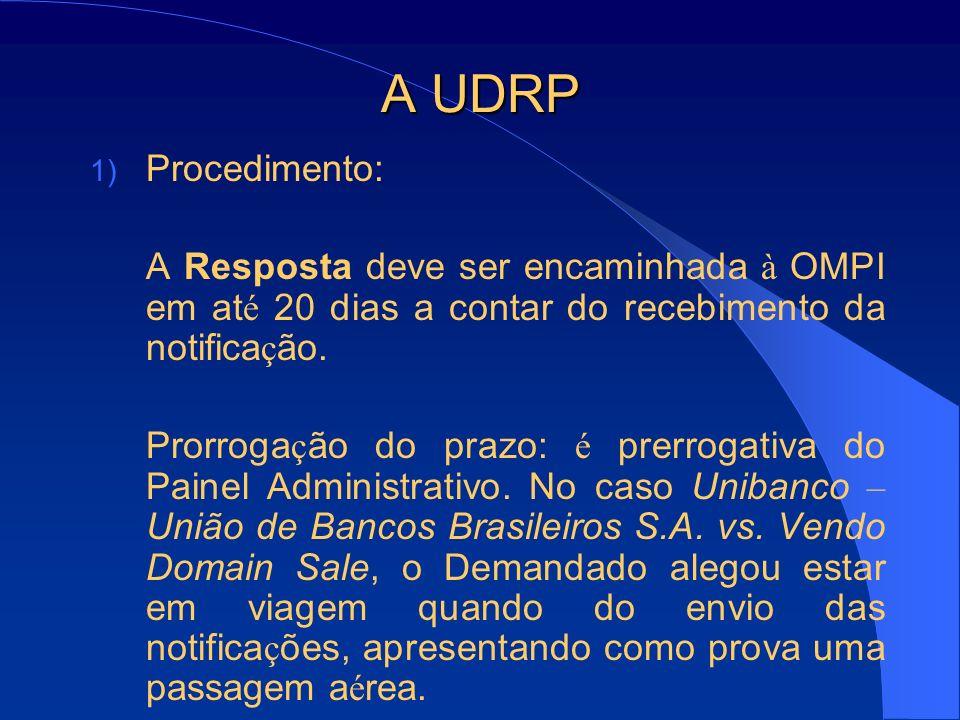 A UDRP Procedimento: A Resposta deve ser encaminhada à OMPI em até 20 dias a contar do recebimento da notificação.