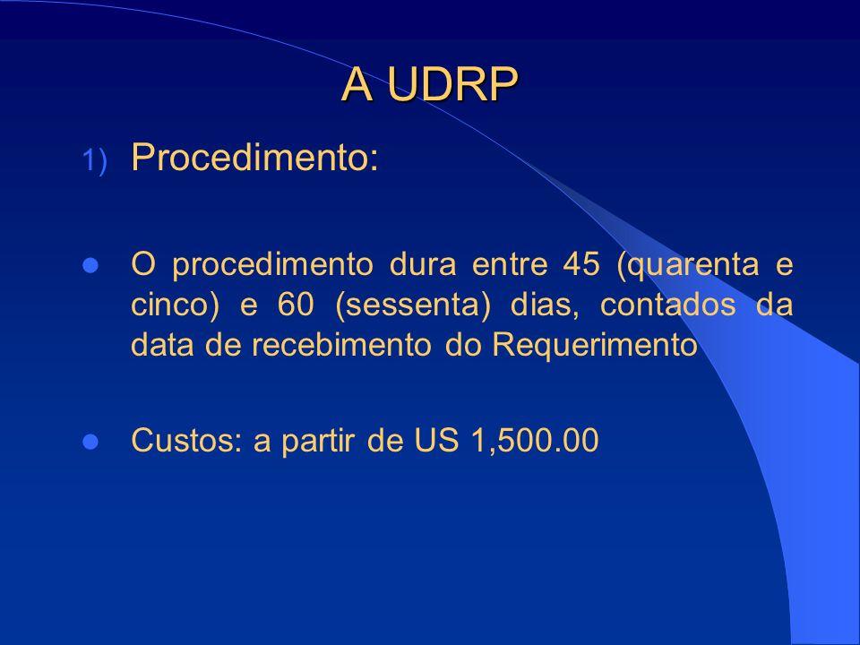 A UDRP Procedimento: O procedimento dura entre 45 (quarenta e cinco) e 60 (sessenta) dias, contados da data de recebimento do Requerimento.