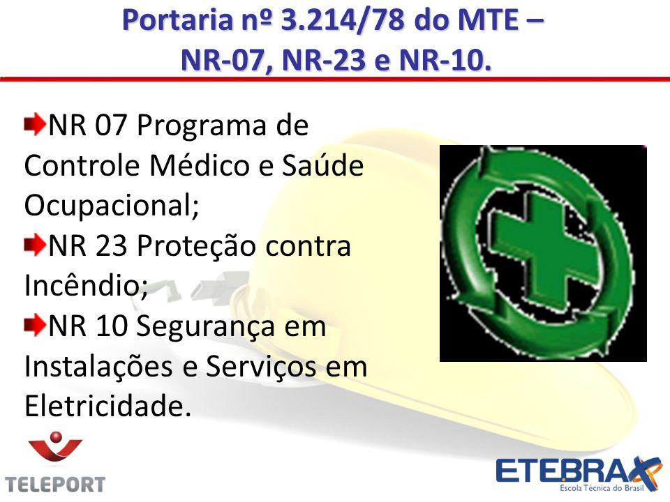 Portaria nº 3.214/78 do MTE –NR-07, NR-23 e NR-10. NR 07 Programa de Controle Médico e Saúde Ocupacional;