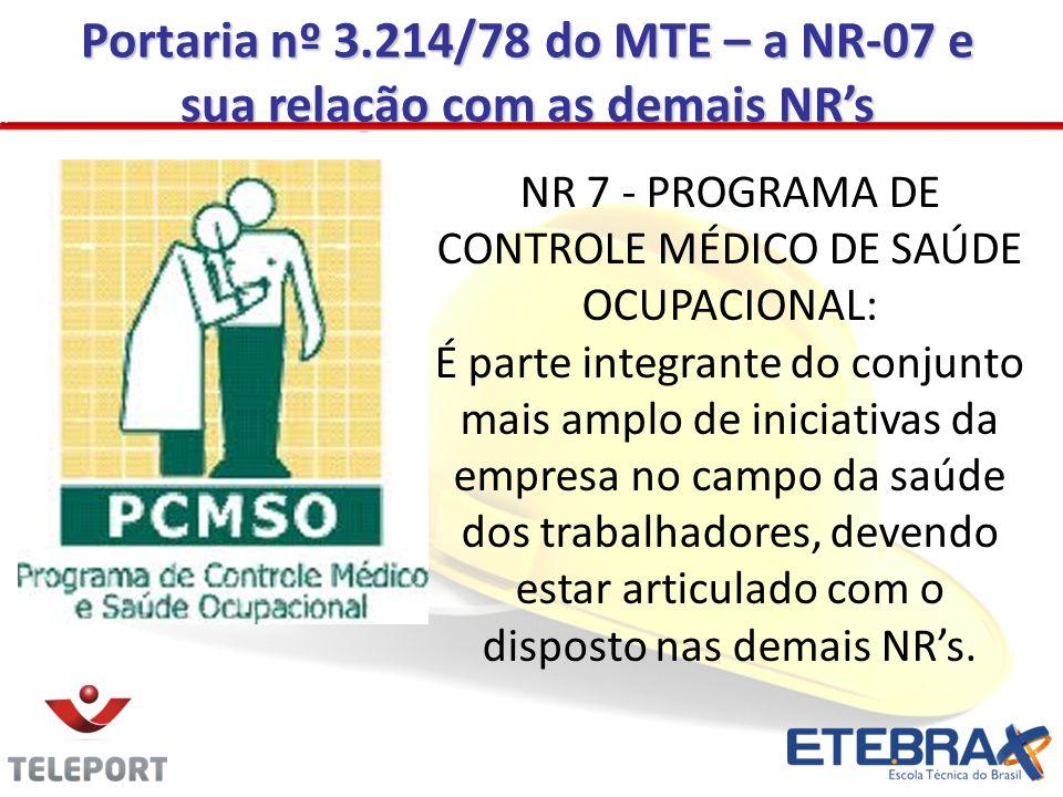 Portaria nº 3.214/78 do MTE – a NR-07 e sua relação com as demais NR's
