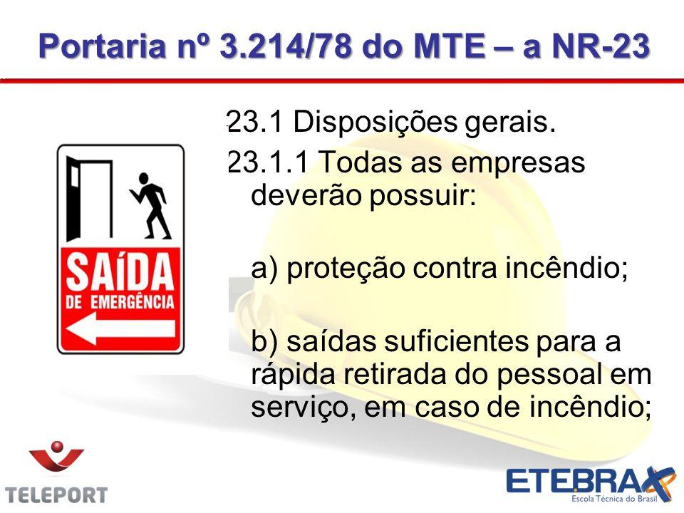 Portaria nº 3.214/78 do MTE – a NR-23