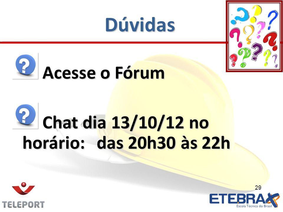Dúvidas Acesse o Fórum Chat dia 13/10/12 no horário: das 20h30 às 22h