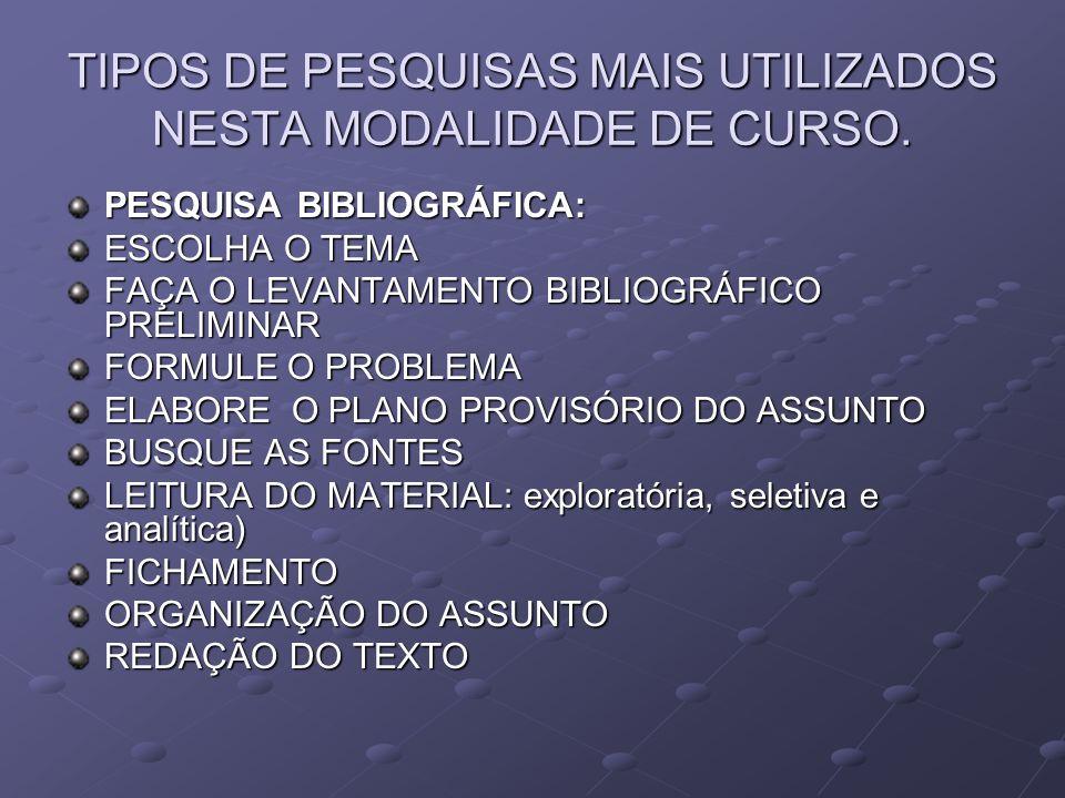TIPOS DE PESQUISAS MAIS UTILIZADOS NESTA MODALIDADE DE CURSO.