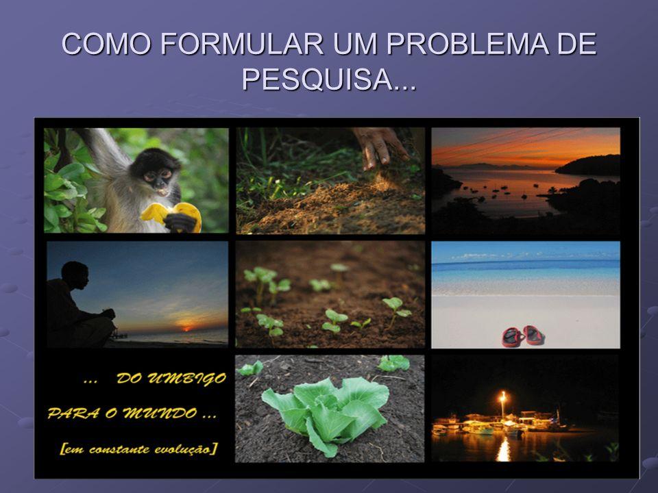 COMO FORMULAR UM PROBLEMA DE PESQUISA...