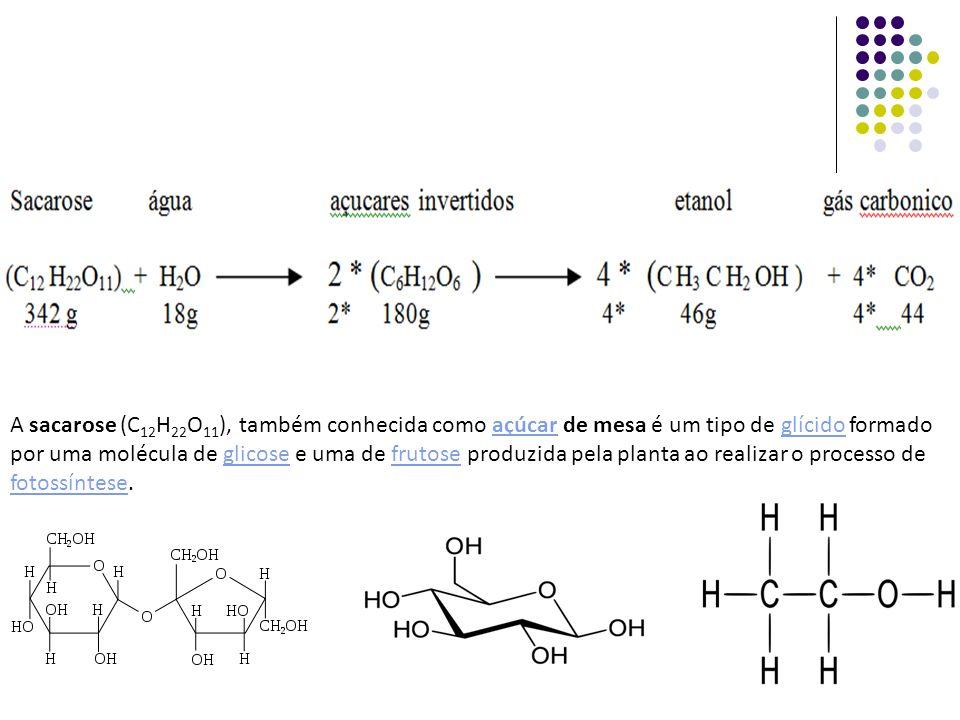 A sacarose (C12H22O11), também conhecida como açúcar de mesa é um tipo de glícido formado por uma molécula de glicose e uma de frutose produzida pela planta ao realizar o processo de fotossíntese.