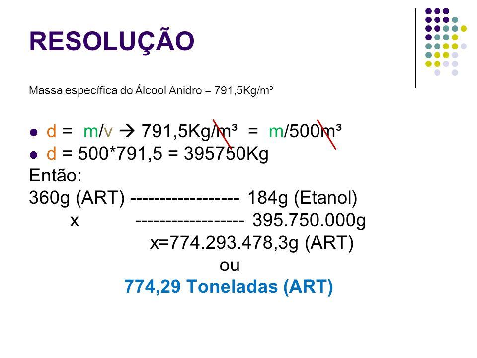 RESOLUÇÃO d = m/v  791,5Kg/m³ = m/500m³ d = 500*791,5 = 395750Kg