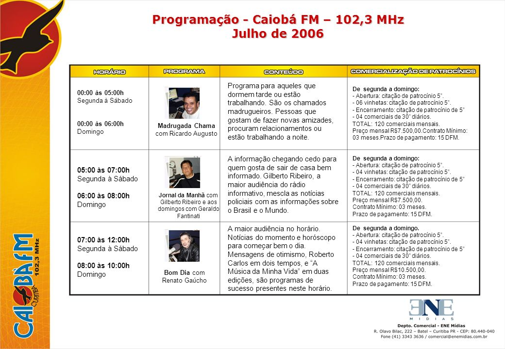 Programação - Caiobá FM – 102,3 MHz