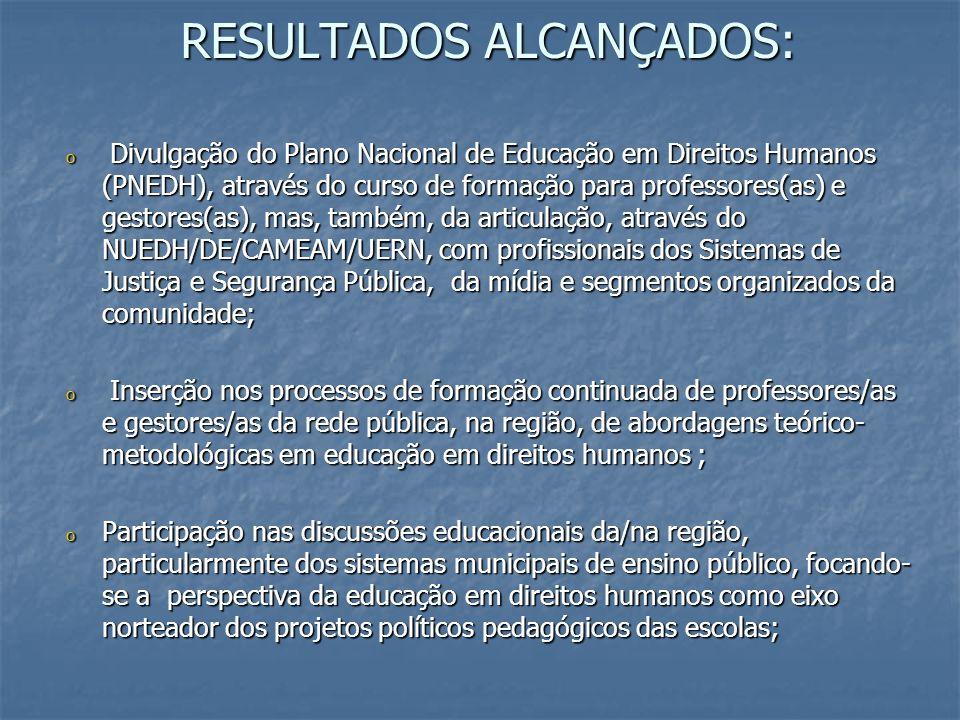RESULTADOS ALCANÇADOS: