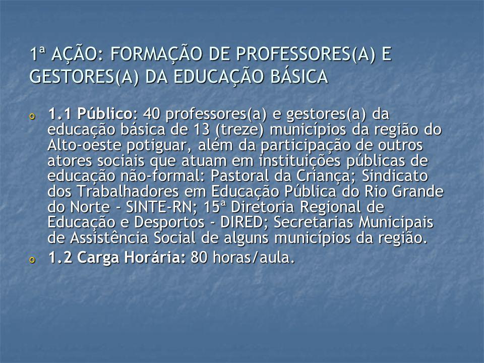 1ª AÇÃO: FORMAÇÃO DE PROFESSORES(A) E GESTORES(A) DA EDUCAÇÃO BÁSICA