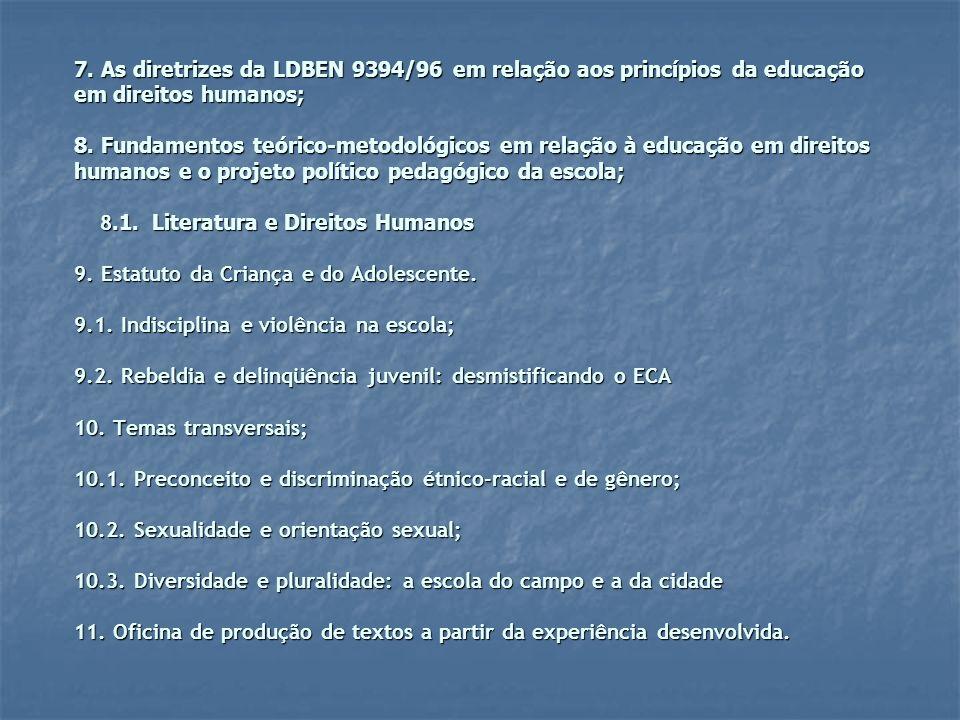 7. As diretrizes da LDBEN 9394/96 em relação aos princípios da educação em direitos humanos; 8.