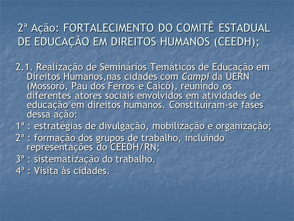 2ª Ação: FORTALECIMENTO DO COMITÊ ESTADUAL DE EDUCAÇÃO EM DIREITOS HUMANOS (CEEDH);