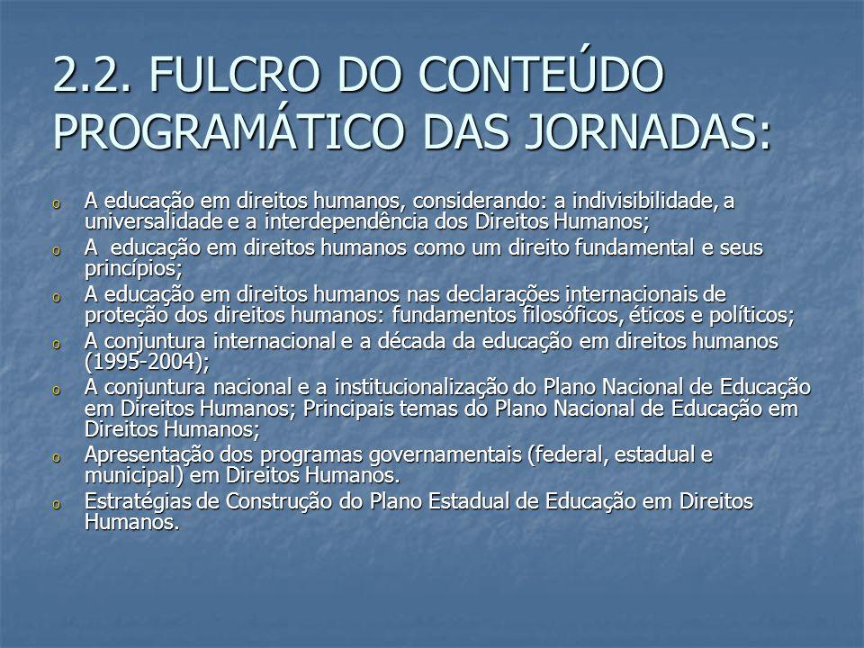 2.2. FULCRO DO CONTEÚDO PROGRAMÁTICO DAS JORNADAS: