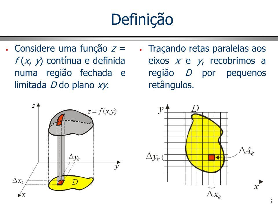 Definição Considere uma função z = f (x, y) contínua e definida numa região fechada e limitada D do plano xy.