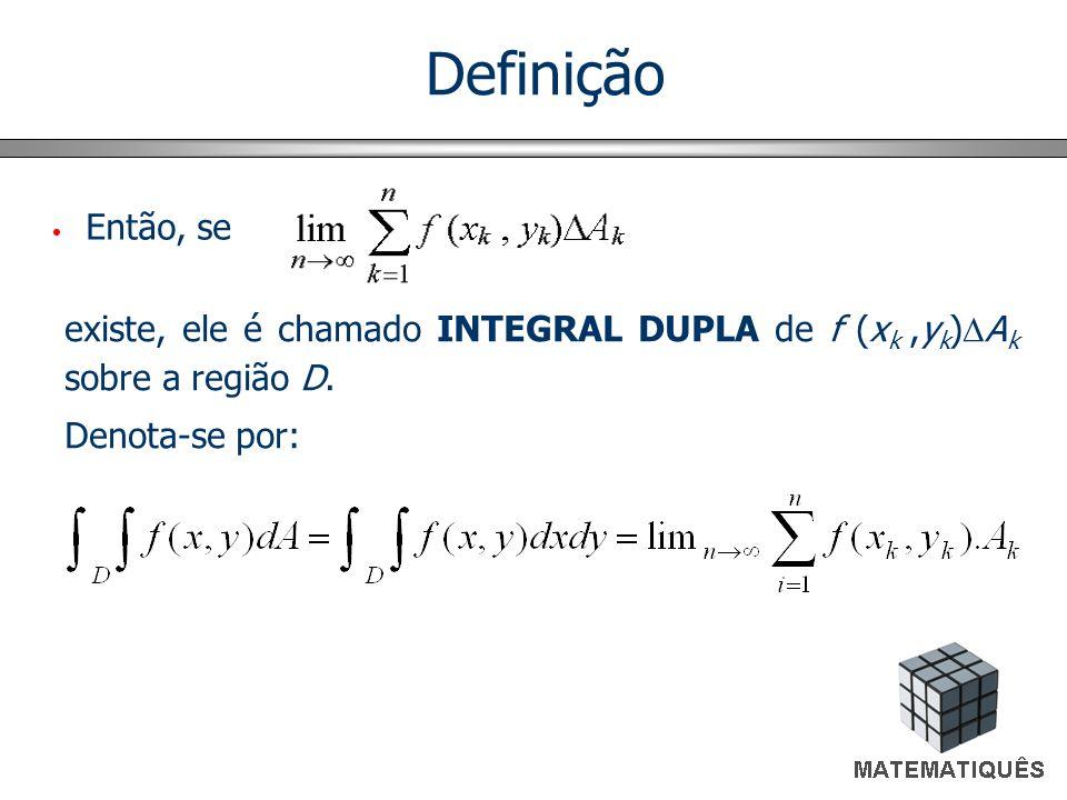 Definição Então, se. existe, ele é chamado INTEGRAL DUPLA de f (xk ,yk)Ak sobre a região D.